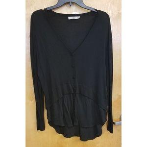 Zara Knit Black Long Sleeve Blouse